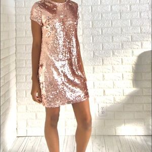 Forever 21 Sequin RoseGold/Silver Reversible Dress